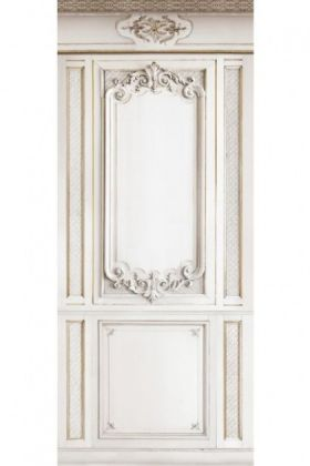 cutout image of trompe l'oeil velvet wall covering - panels on white background