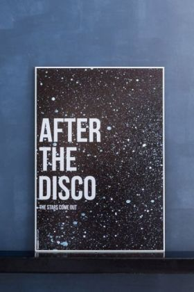 lifestyle image of Unframed After The Disco Art Print leaning against blue wall