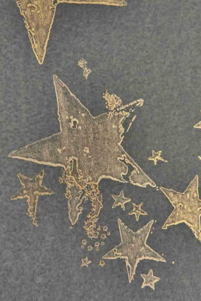 close up detail image of Barneby Gates All Star Wallpaper - Gun Metal gold stamped stars repeated pattern on grey background