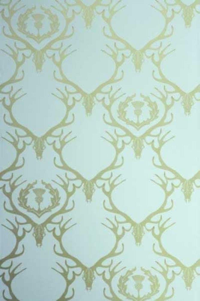Barneby Gates Deer Damask Wallpaper Duck Egg Blue Antique Gold