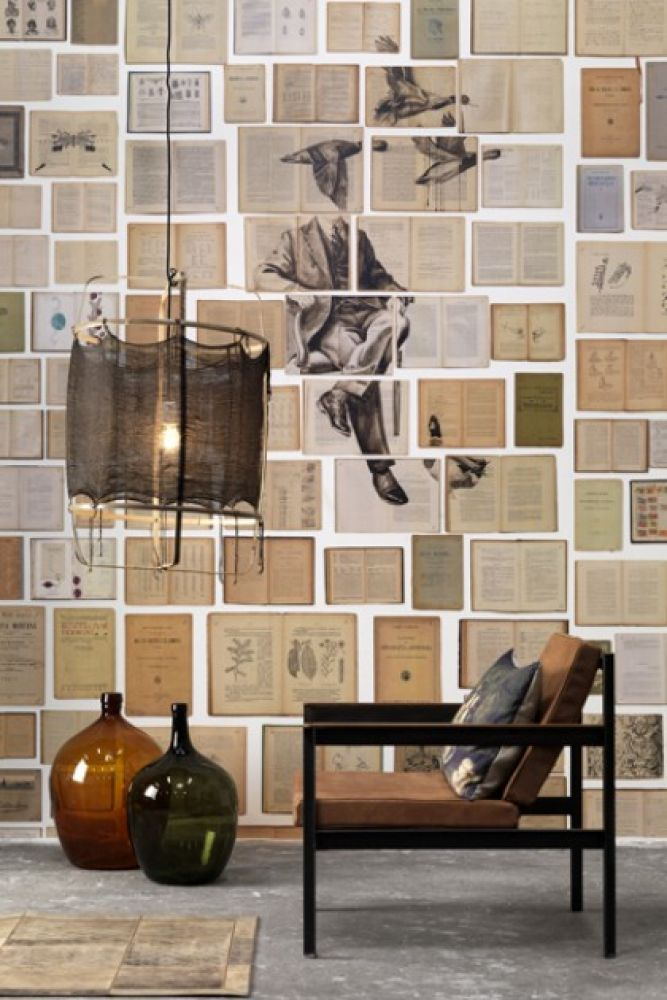 lifestyle image of NLXL EKA01 Biblioteca Wallpaper by Ekaterina Panikanova - Mural 1: Ducks with vases, black side table and low ceiling light