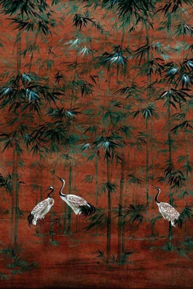 Close-up detailimage of the Chinoiserie Wallpaper Mural - Garzas Goji black and white storks on rust background with dark green plants