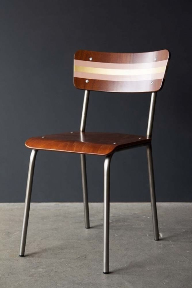 lifestyle image of Contemporary Hand-Painted School Chair - Tuscan Pink & Gold on grey flooring and dark wall background