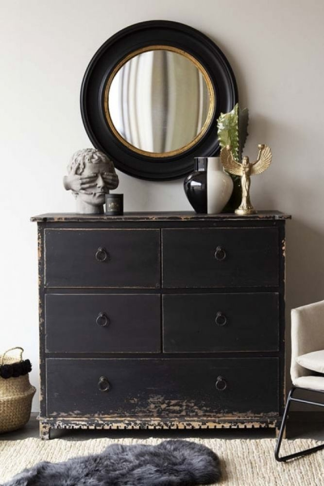 Distressed Vintage Style 5 Drawer Chest Of Drawers Rockett St George