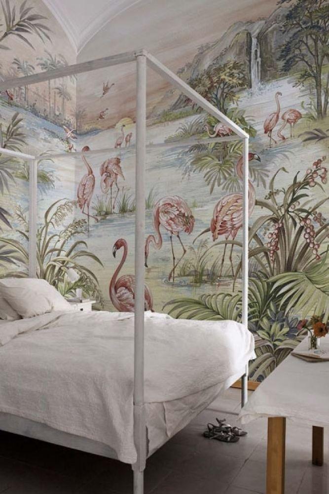 Flamingo Chinoiserie Wallpaper Mural Roseus Maca Rockett St George