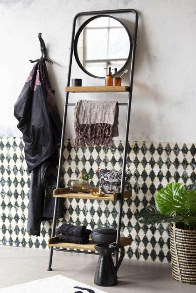 Industrial Style Ladder Shelf Unit With Round Mirror Rockett St George