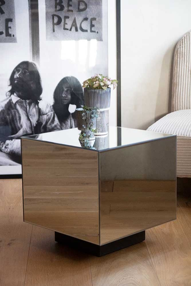 Lifestyle image of the Mirrored Cube Side Table