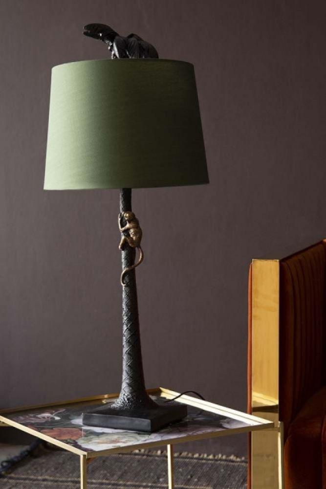 Onyx Palm Tree Table Lamp With Bronze Climbing Monkey