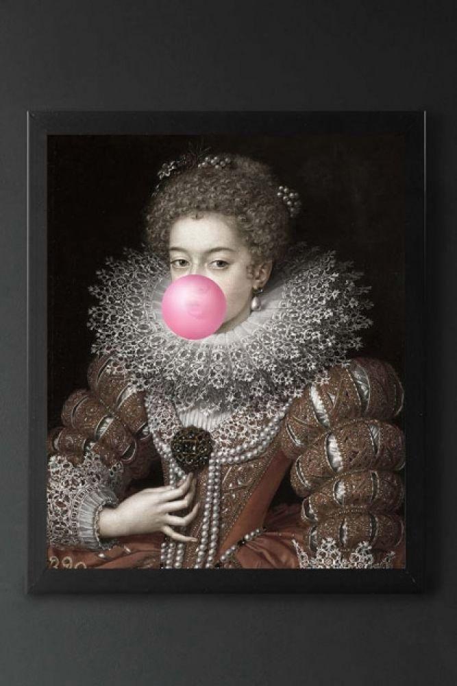 Pink Bubblegum Queen Portrait Canvas on dark background