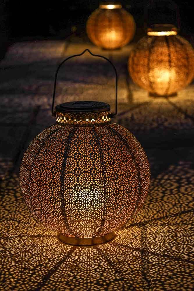 Antique Brass Moroccan Solar Lantern, Moroccan Outdoor Lamps Uk