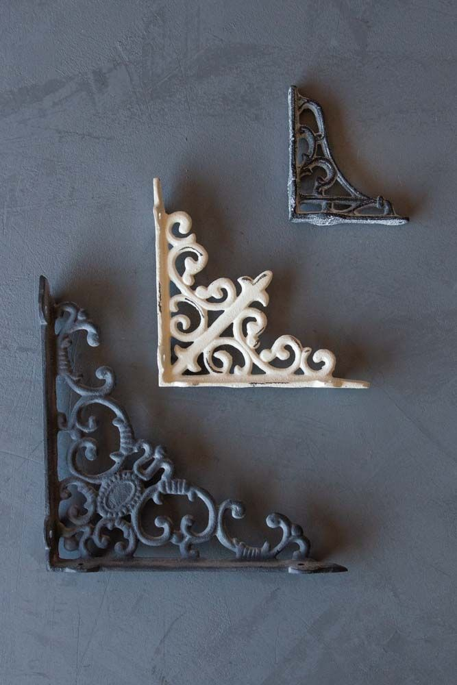 3 SIZES AVAIL Black Leaf Wrought Iron Shelf Brackets for Wall Mounted Shelves