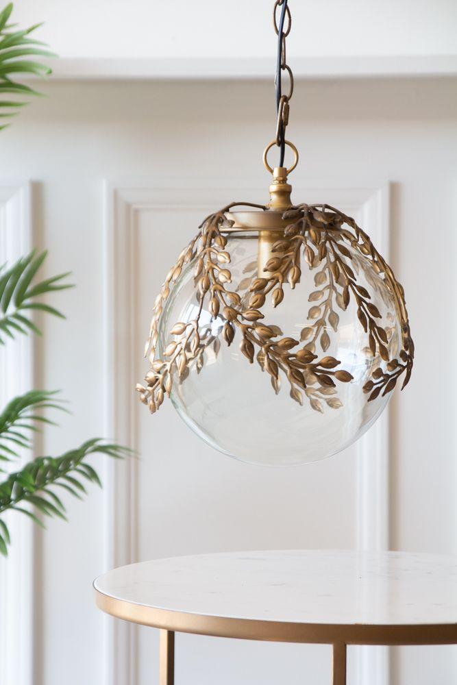 Ornate Globe Pendant Ceiling Light With Brass Leaf Detailing Rockett St George