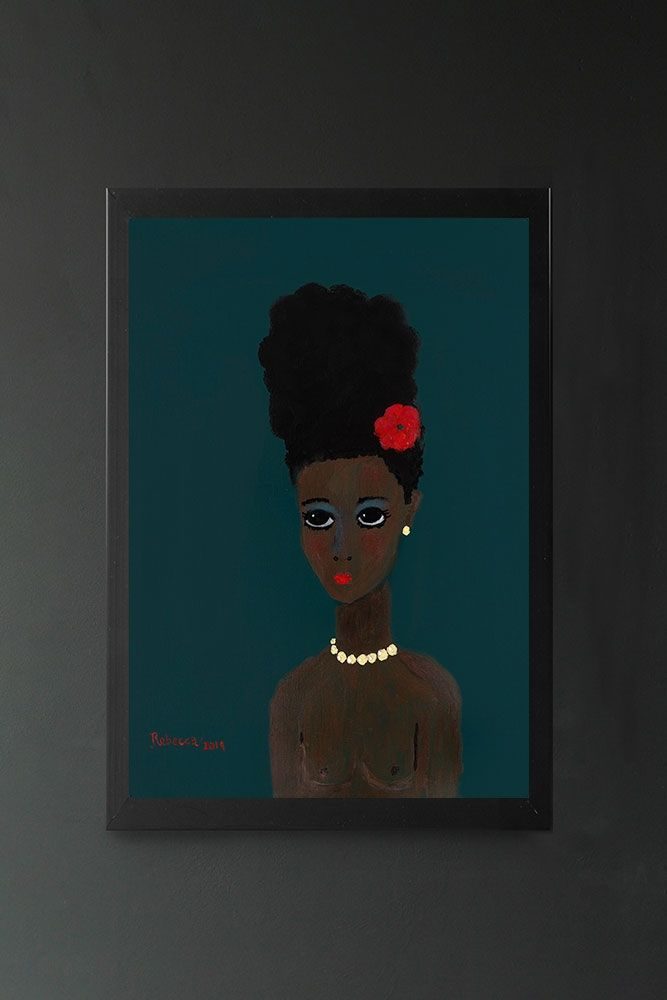 Image of the Arjana Art Print by Rebecca Sophie Leigh in a frame hung on the wall