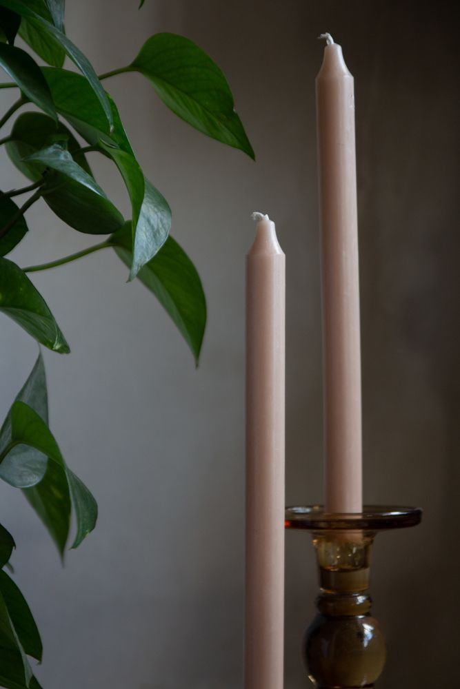 Image of 2 Dusky Rose Pink Beautiful Dinner Candles
