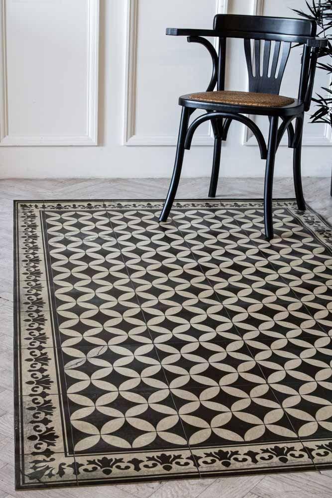 Sofi Antique Vintage Tile Effect Beija, Vinyl Rug For Dining Room