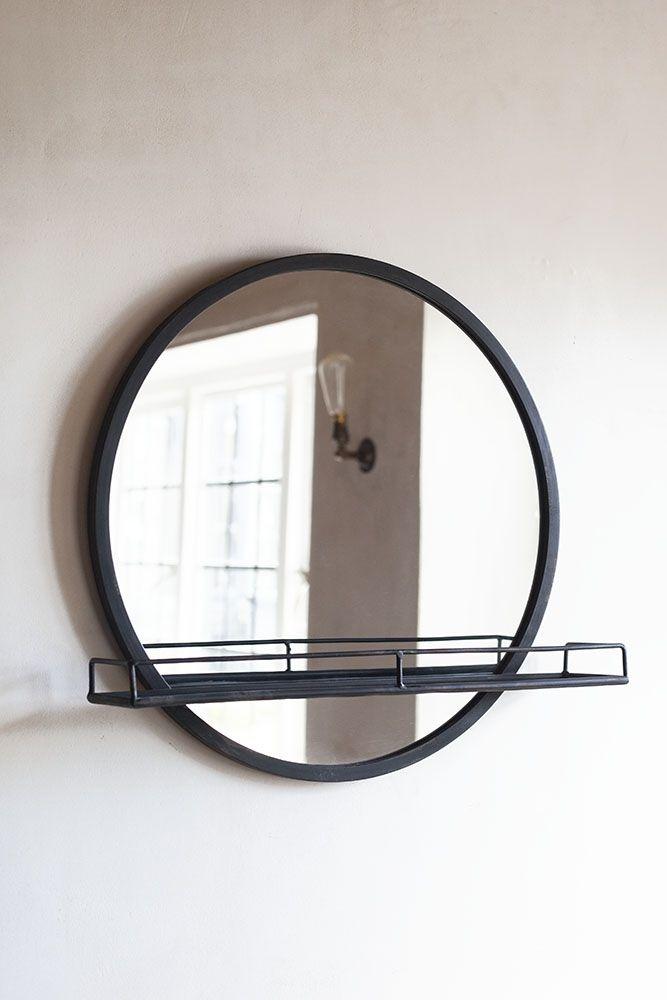 Black Metal Round Mirror With Shelf Rockett St George