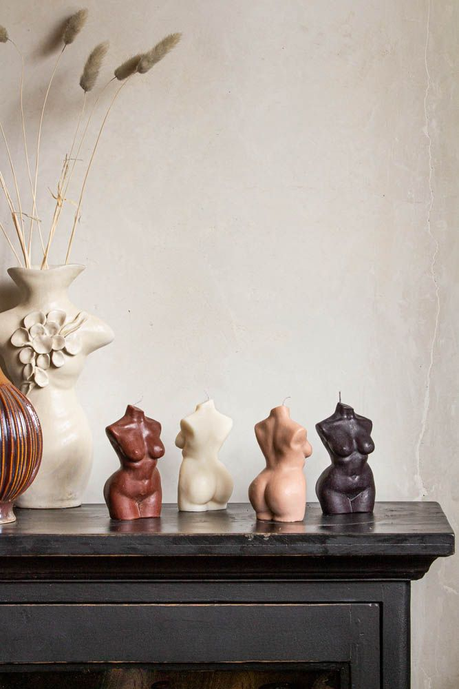 Image of all the colours available in the Curvy Body Torso Candles By Belle Nous