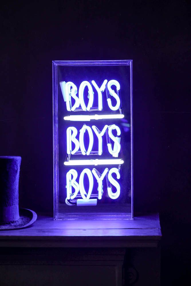 Image of the Boys Boys Boys Neon Light Box lit up