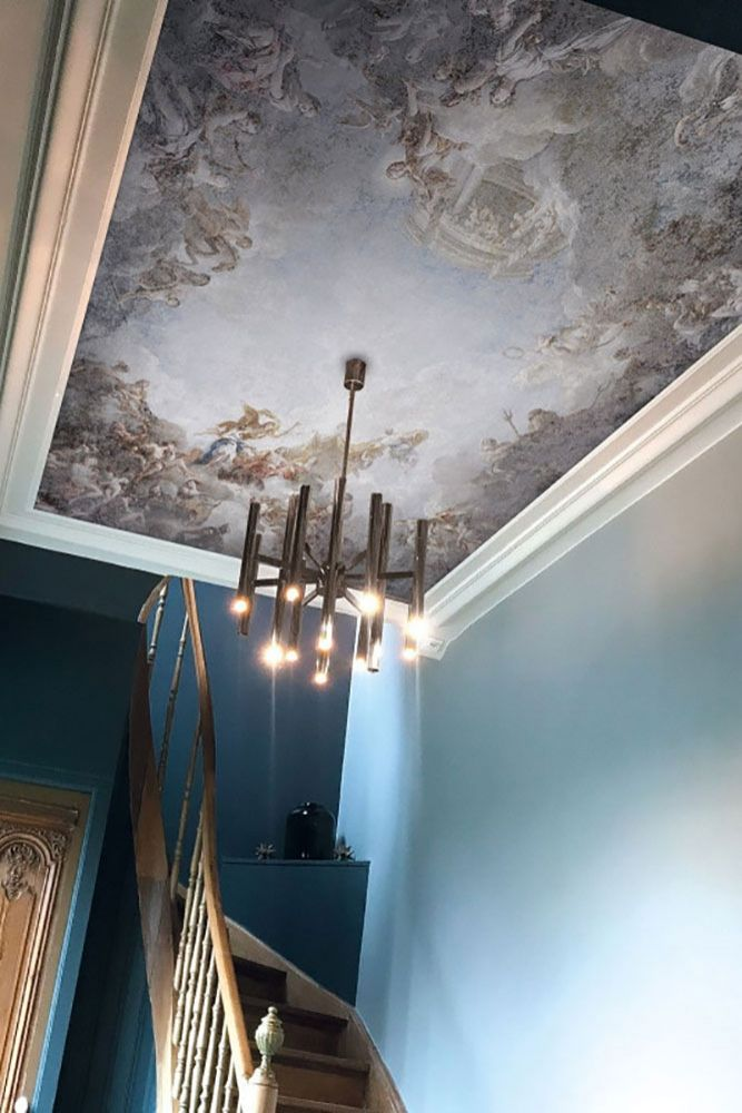 Image of the Ceiling Of The Chateau de Versailles Panoramic Wallpaper on a ceiling