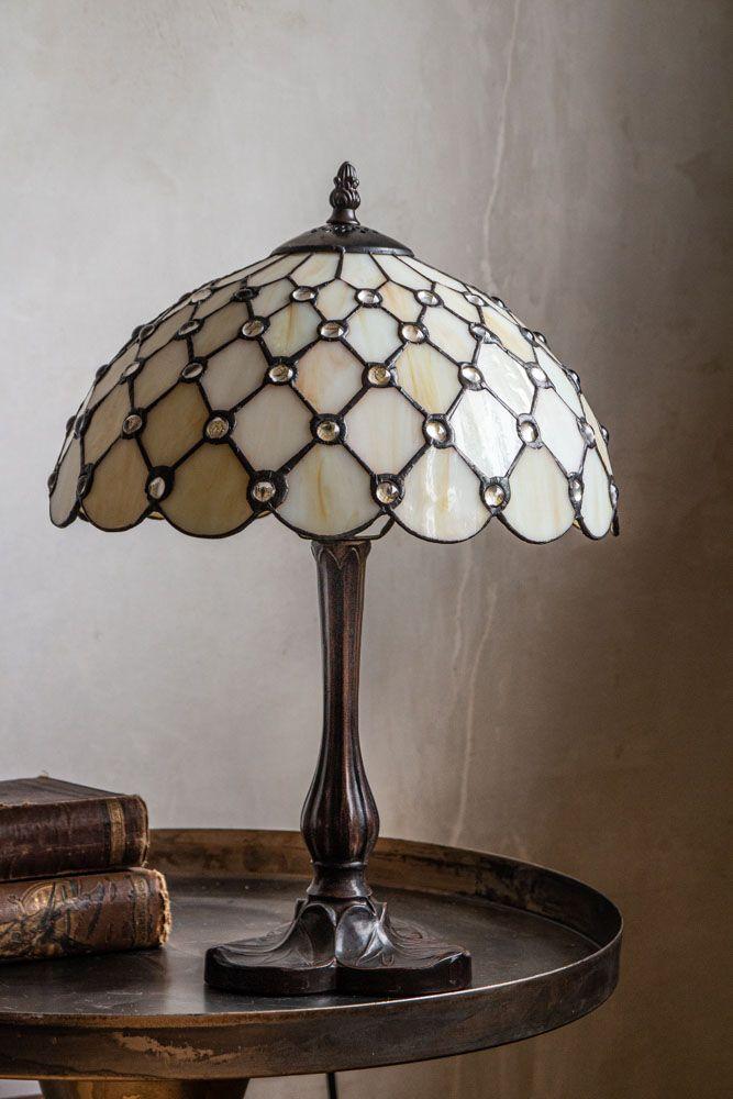 Cream Jewelled Art Deco Lamp, Lamps Antique Style