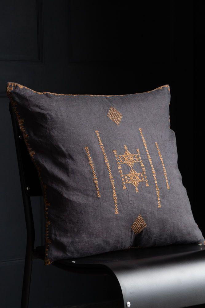 Image of the Dark Grey Inka Linen Cushion