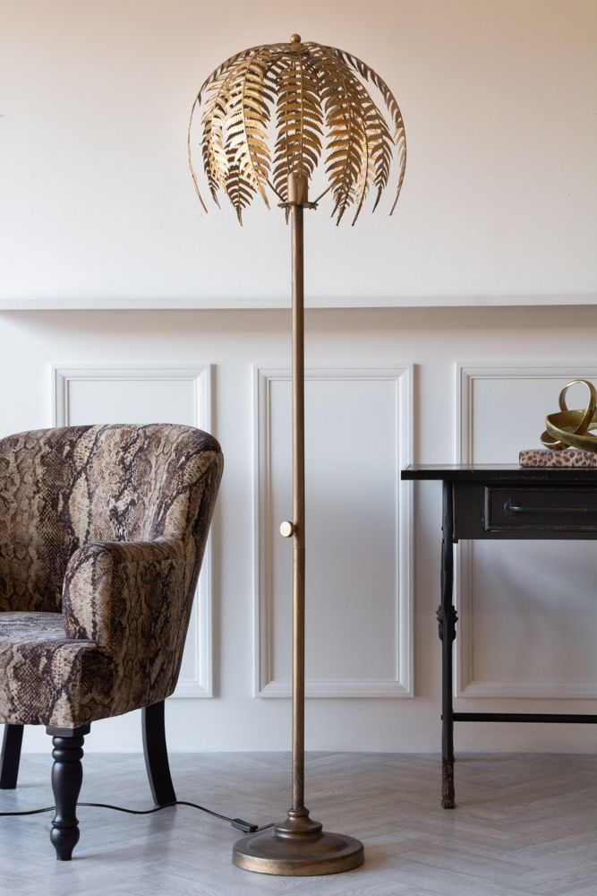 Lifestyle image of the Fern Leaf Palm Tree Style Floor Lamp