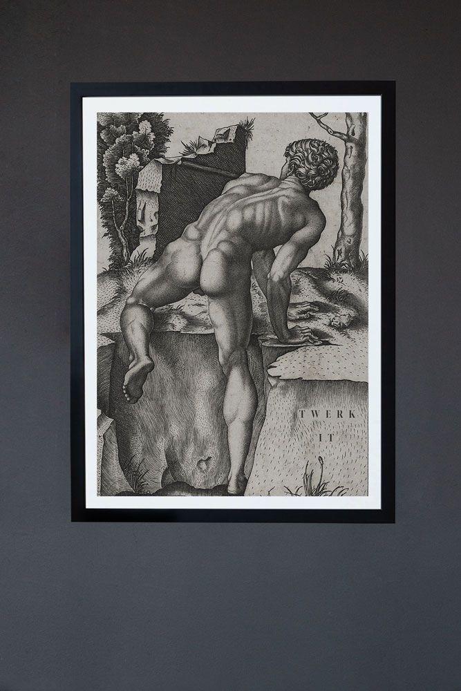 Image of the Framed Twerk It Art Print on a dark grey wall with black frame