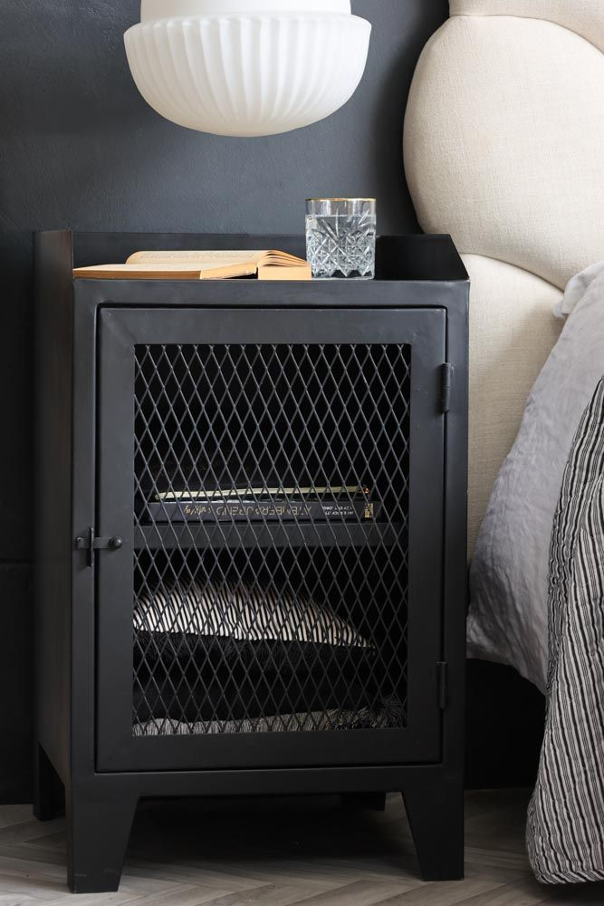 lifestyle image of industrial bedside table