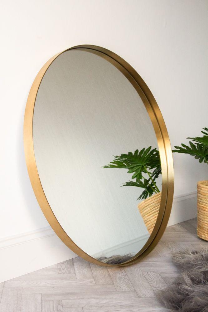 Large Round Mirror With Gold Surround, Large Gold Frame Circular Mirror