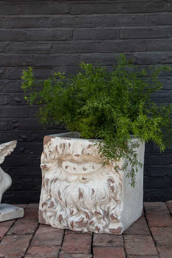 Lifestyle image of the Large Rustic Stone Effect Mythical Mouth Planter