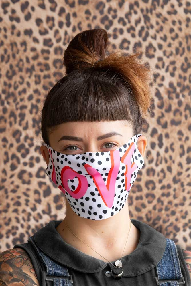 Lifestyle image of the Love Polka Dot Face Mask By Rachel Waite