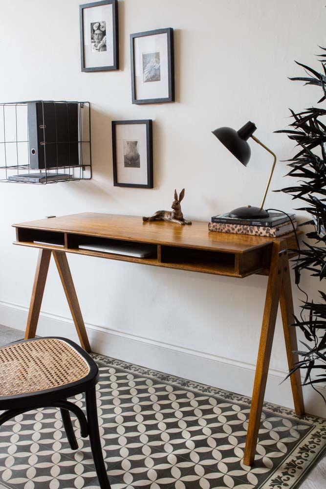 Mango Wood Desk With 3 Open Shelves, Mango Wood Desk