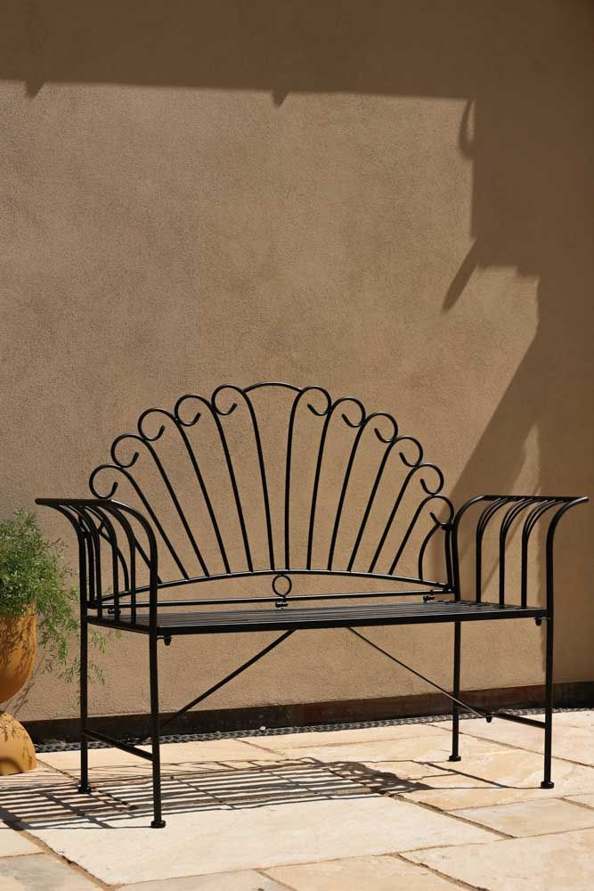 Image of the Black Metal Garden Bench