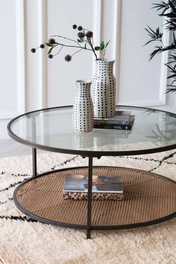 Round Coffee Table With Metal Rattan, Rattan Coffee Table Round