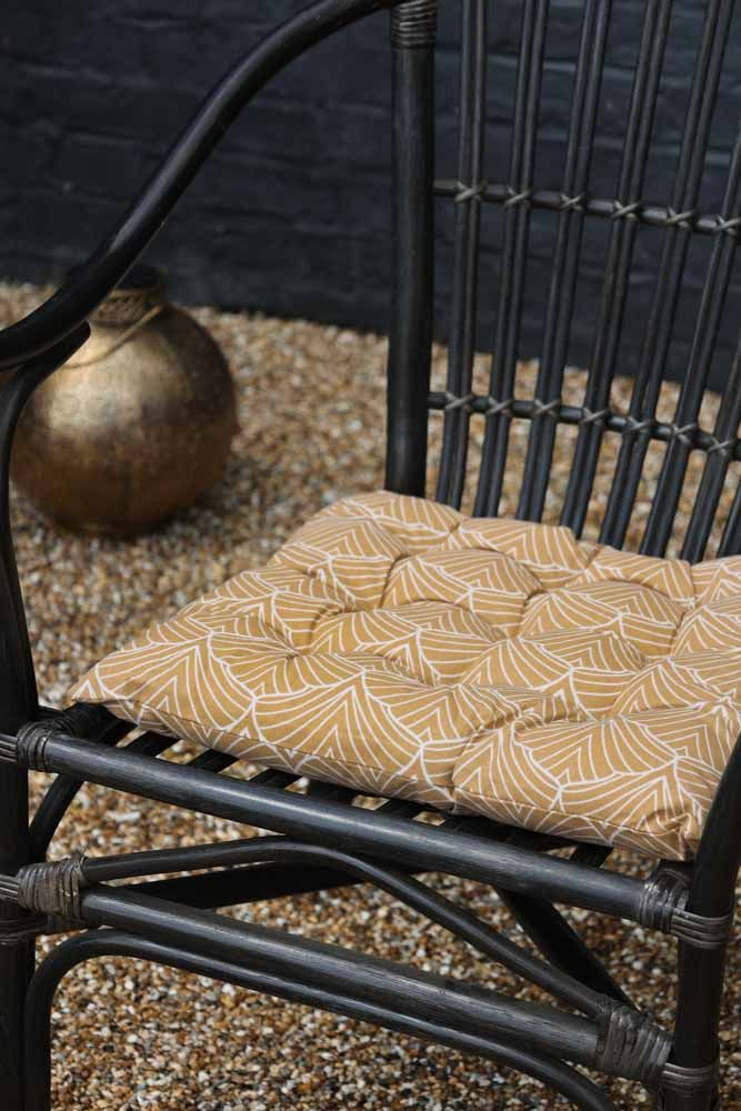 Image of the Patterned Seat Pad Cushion In Mustard on a chair