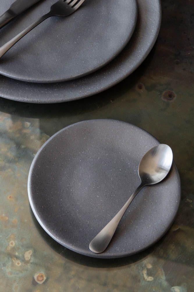 Image of the Roda Matt Black Stoneware Small Side Plate