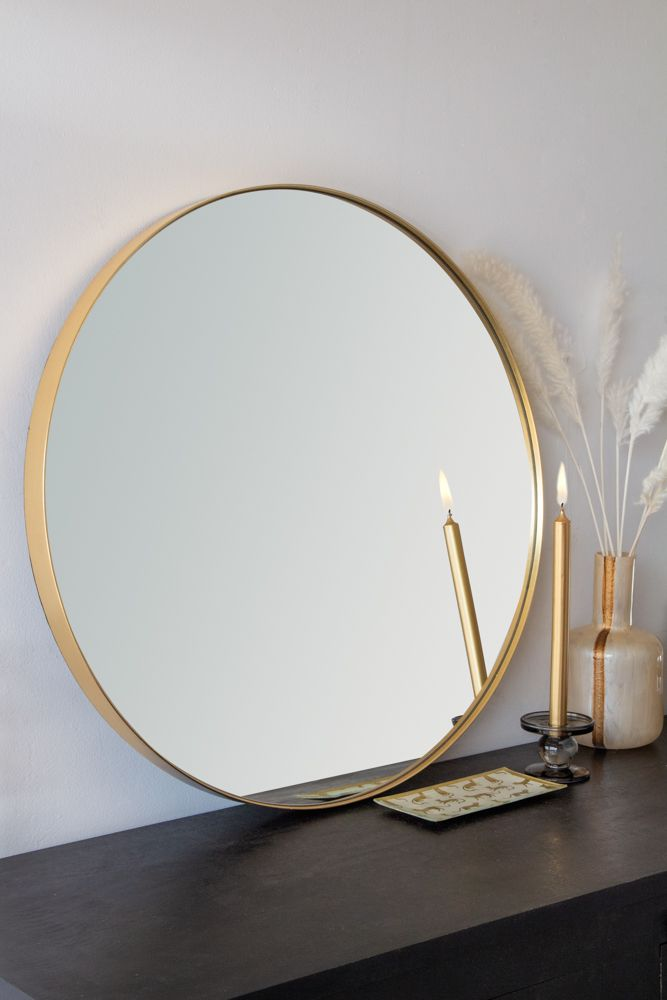 Round Gold Framed Wall Mirror Large Rockett St George