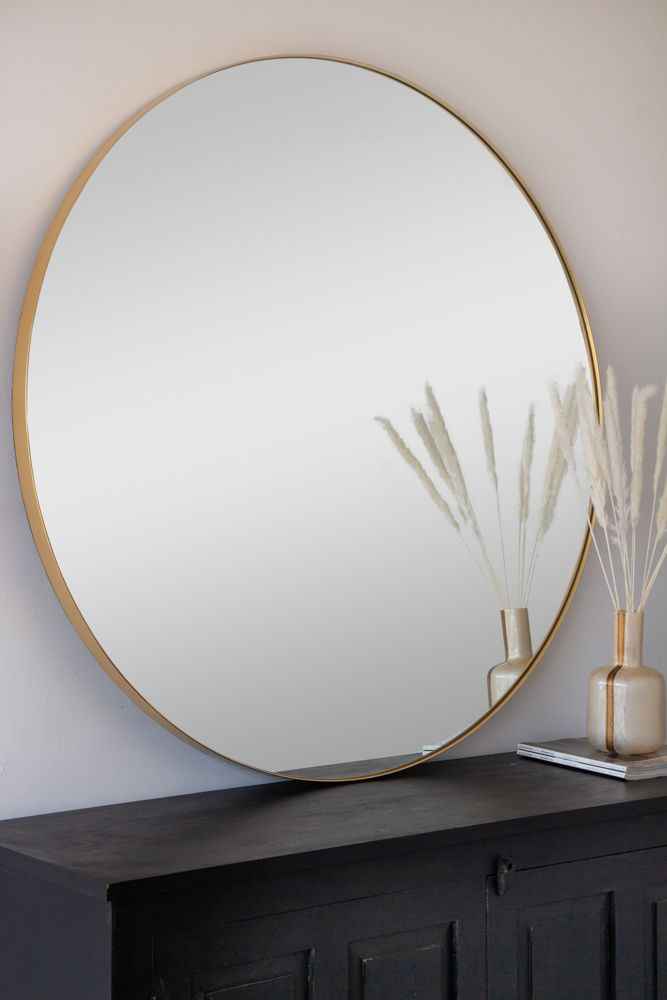 Round Gold Framed Wall Mirror Xl Rockett St George