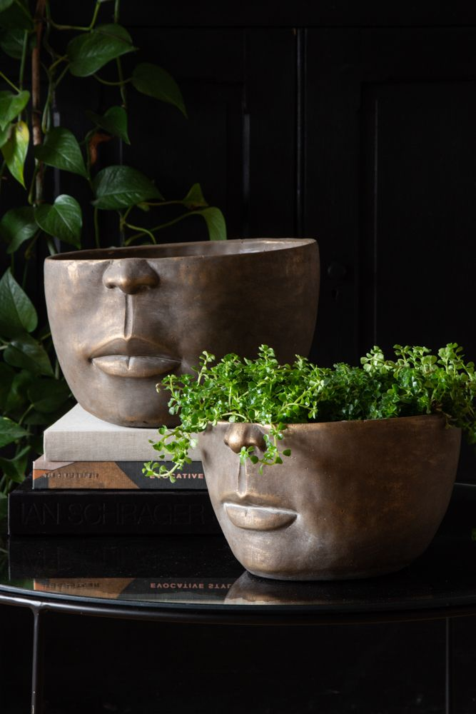 Lifestyle image of both sizes available in the Brushed Gold Reflective Half Face Planters