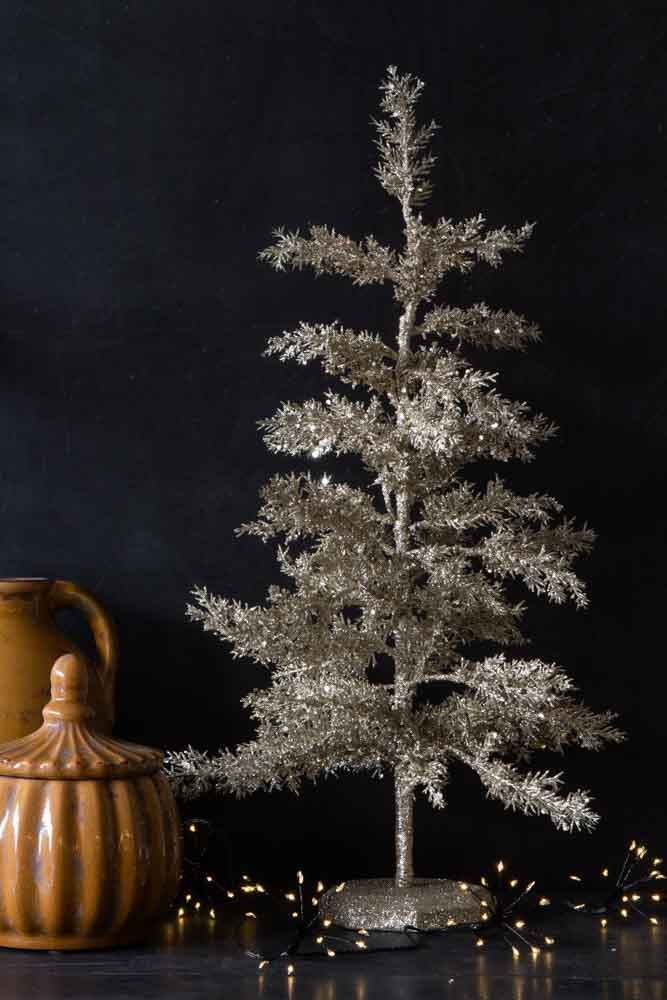 Image of the Silver Glitter Christmas Tree Table Decoration