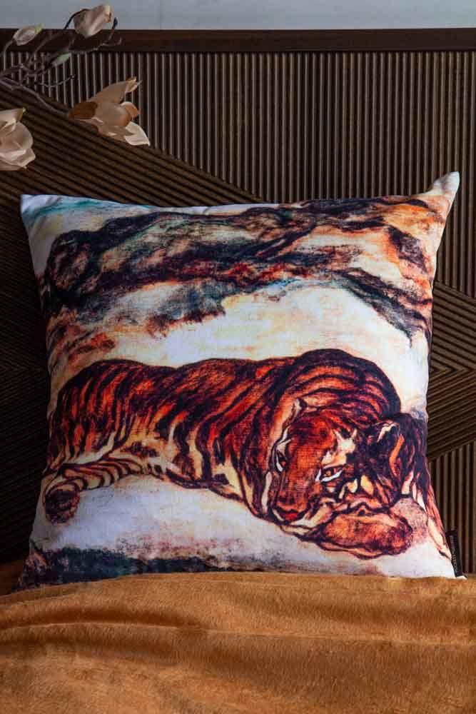 Lifestyle image of the Sleeping Tiger Velvet Cushion