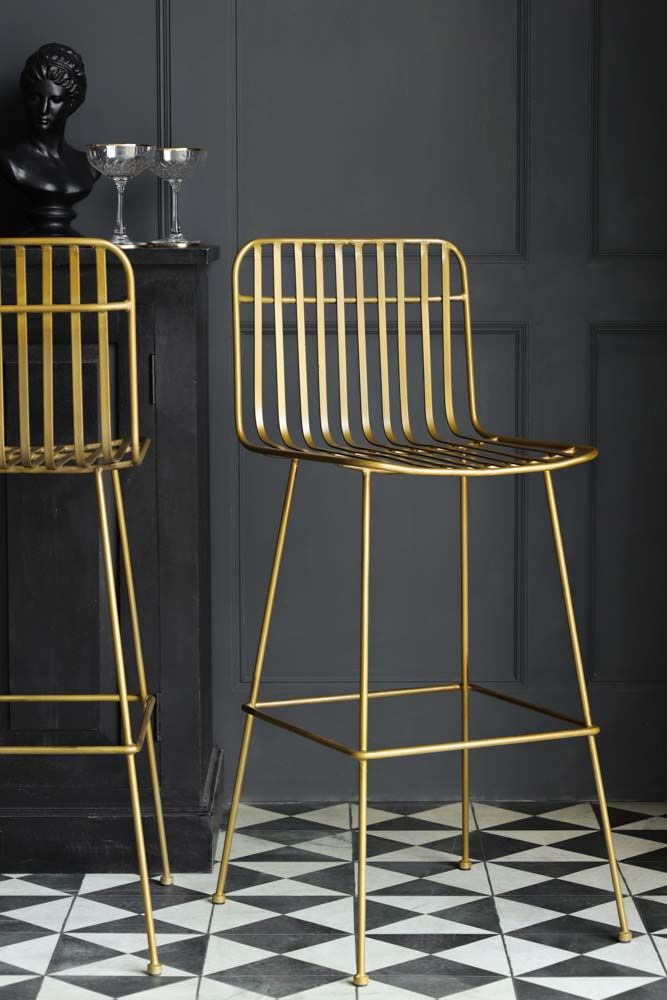 Image of the The New Midas Gold Metal Bar Stool