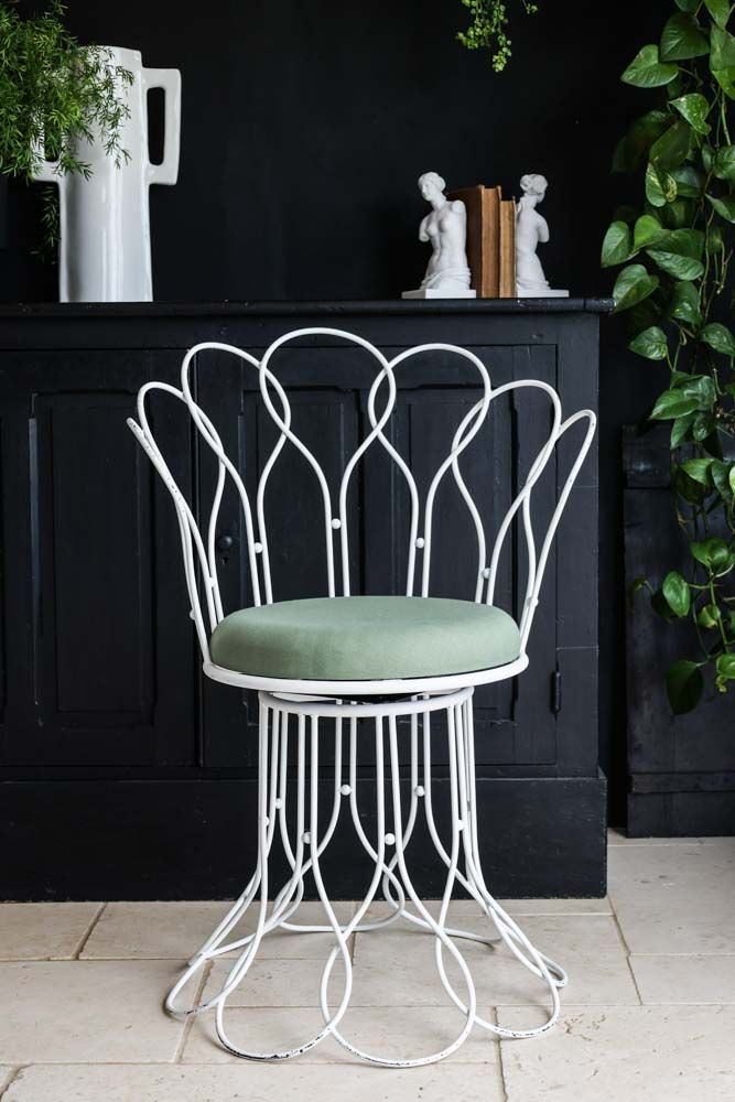 Image of the Tuscany Inspired White Metal Swivel Chair With Cushion