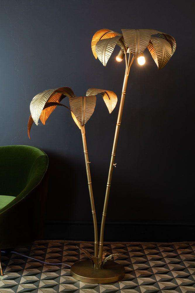 Vintage Style Twin Stalk Palm Tree, Palm Floor Lamp Uk