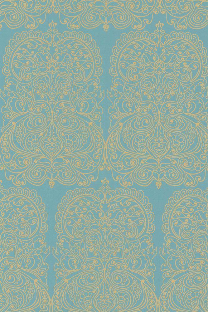 Cole & Son New Contemporary - Alpana Wallpaper - Blue & Gold 69/2107 - ROLL - In Stock