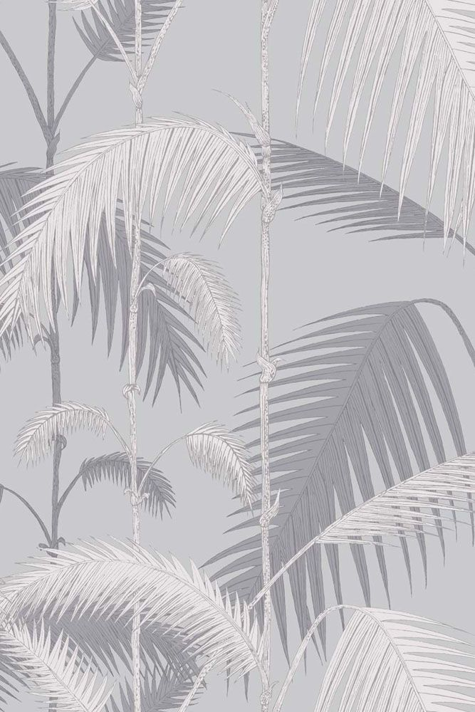 detail image of cole & son contemporary restyled - palm jungle wallpaper - lilac grey & grit