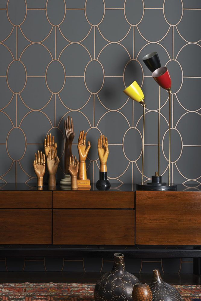 lifestyle image of cole & son geometric II - riviera wallpaper - 4 colours available