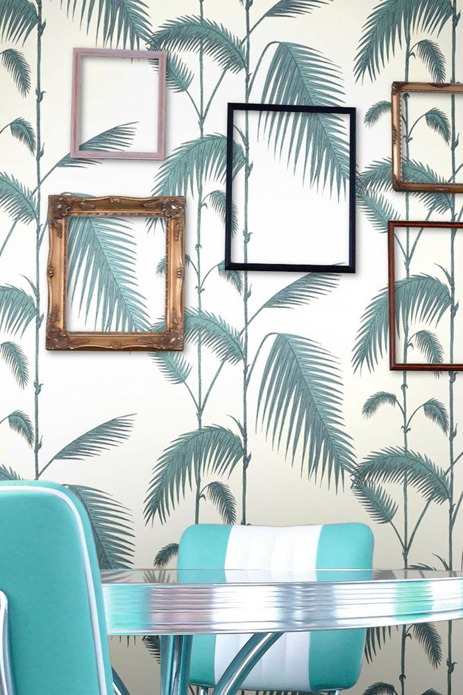 lifestyle image of cole & son new contemporary - palm leaves wallpaper - 4 colours available