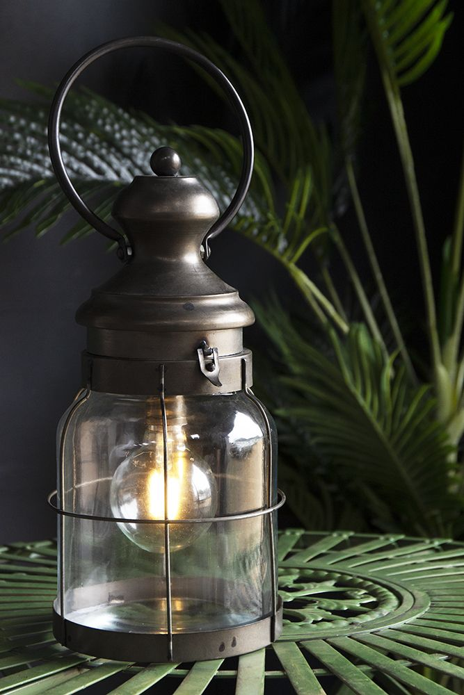 Image of the French Stable Lantern switched on