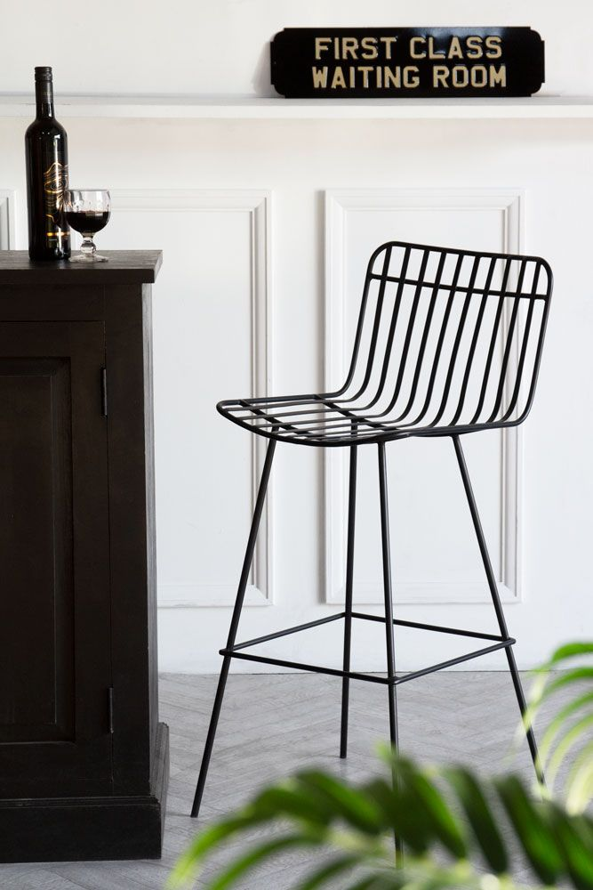 Front angled image of the Nero Black Metal Bar Stool